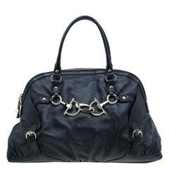 22703907f06 ... Gucci Black Leather Medium Horsebit Nail Boston Bag For Sale