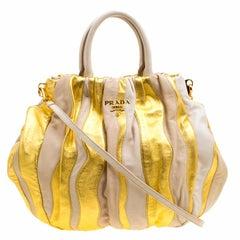 Prada Beige/Gold Stripe Leather Hobo