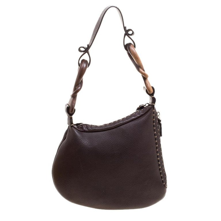 232bea11c915 Fendi Brown Selleria Leather Oyster Hobo at 1stdibs