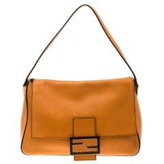 Fendi Orange Leather Mama Forever Shoulder Bag