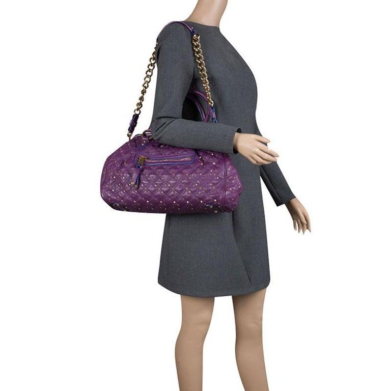 e63587d0d15f Black Marc Jacobs Purple Quilted Leather Studded Stam Shoulder Bag For Sale