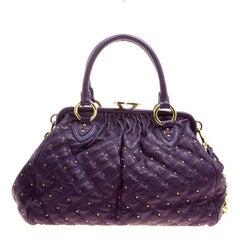 Marc Jacobs Purple Quilted Leather Studded Stam Shoulder Bag