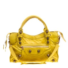 Balenciaga Yellow Leather Classic City GSH Tote