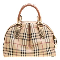 Burberry Gold Haymarket Check PVC and Leather Thornley Bowling Bag