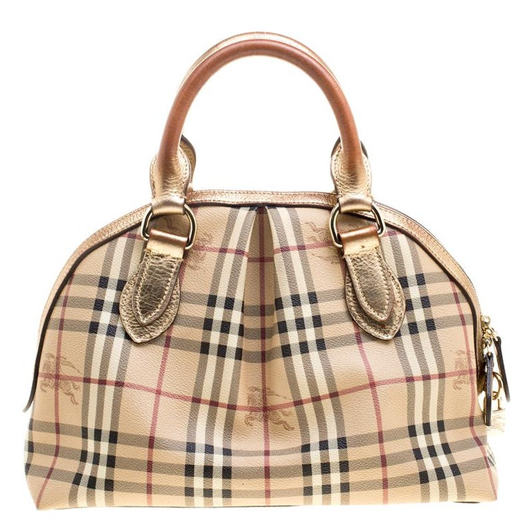 Burberry Gold Haymarket Check Pvc And Leather Thornley Bowling Bag For
