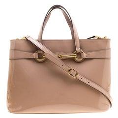 Gucci Beige Patent Leather Soft Bright Bit Medium Top Handle Tote