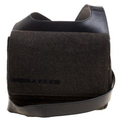 Prada Black Tweed and Leather Crossbody Bag