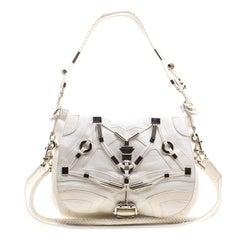 Gucci White Leather Techno Horsebit Shoulder Bag