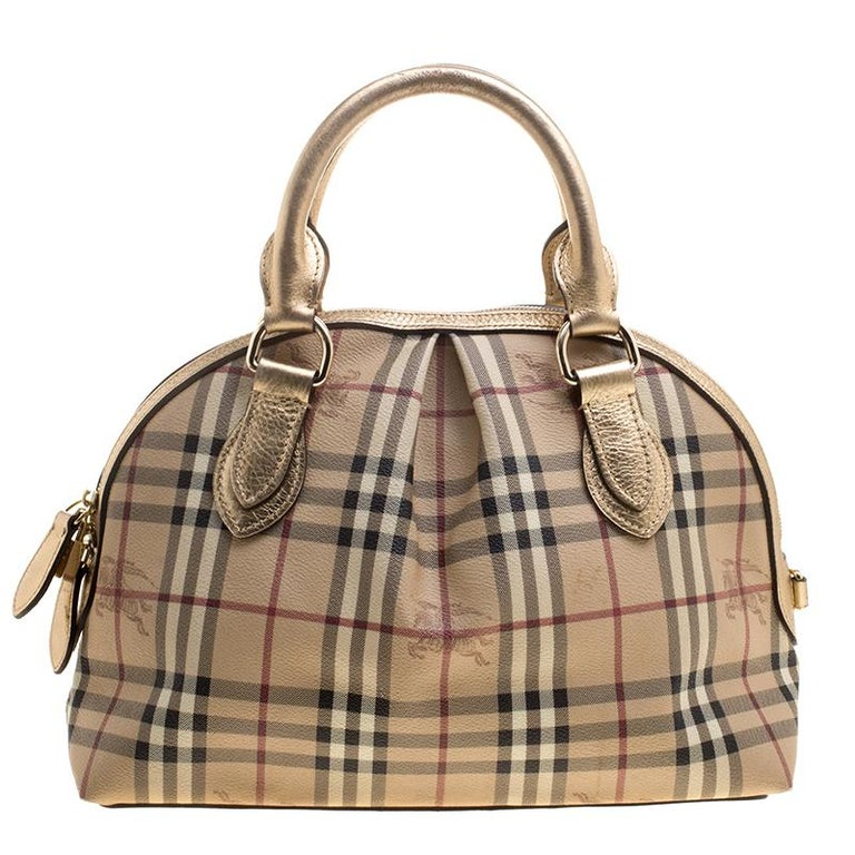 Burberry Gold Haymarket Check PVC and Leather Thornley Bowling Bag For Sale 31bca4df8ca09