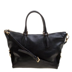 Tod's Black Leather ALR Tracolla Piccola Shopper Tote