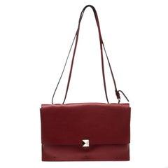 Valentino Red Leather Flap Shoulder Bag