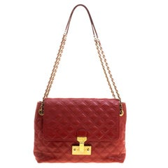 Marc Jacobs Red Quilted Leather Baroque Shoulder Bag