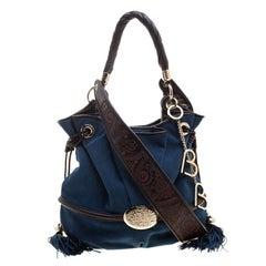 Lancel Blue Suede Le Brigitte Bardot Bucket Bag