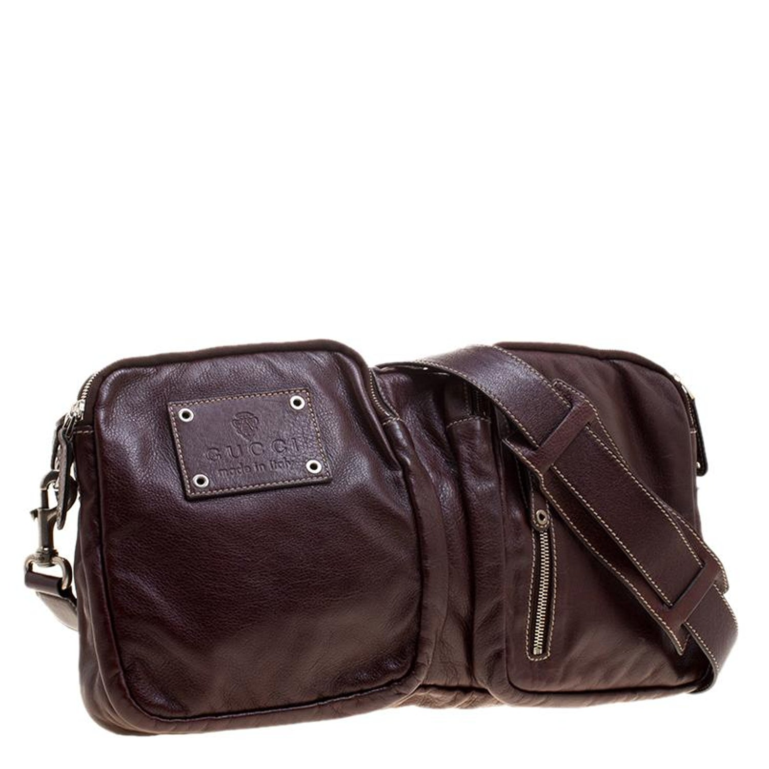 834e7db39a5dd2 Gucci Burgundy Leather Fanny Pack Double Waist Belt Bag at 1stdibs