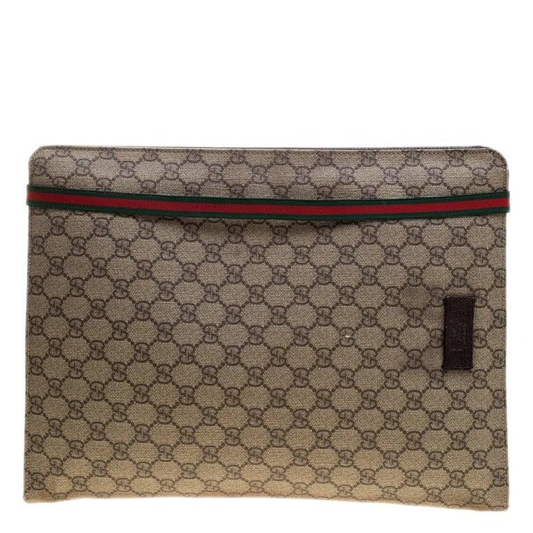 416c380aa3a3 Gucci Beige GG Supreme Canvas Portfolio Document Case For Sale at ...