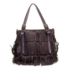 Tod's Lilac Leather Fringe G Bag