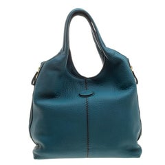 Tod's Teal Blue Pebbled Leather Zip Tote