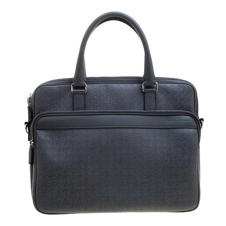Salvatore Ferragamo Grey Embossed Leather Laptop Bag
