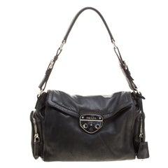 Prada Black Leather Antic Easy Pushlock Shoulder Bag