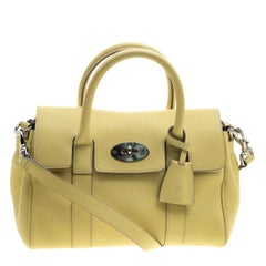 Mulberry Yellow Grain Leather Small Bayswater Satchel