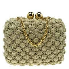 Dolce and Gabbana Gold Shimmering Fabric Chain Clutch