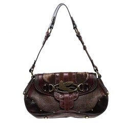Etro Multicolor Coated Canvas and Leather Shoulder Bag