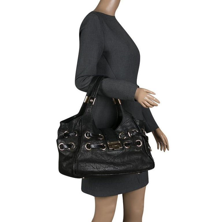 Jimmy Choo Black Glazed Crinkled Leather Riki Tote In Good Condition For Sale In Dubai, AE