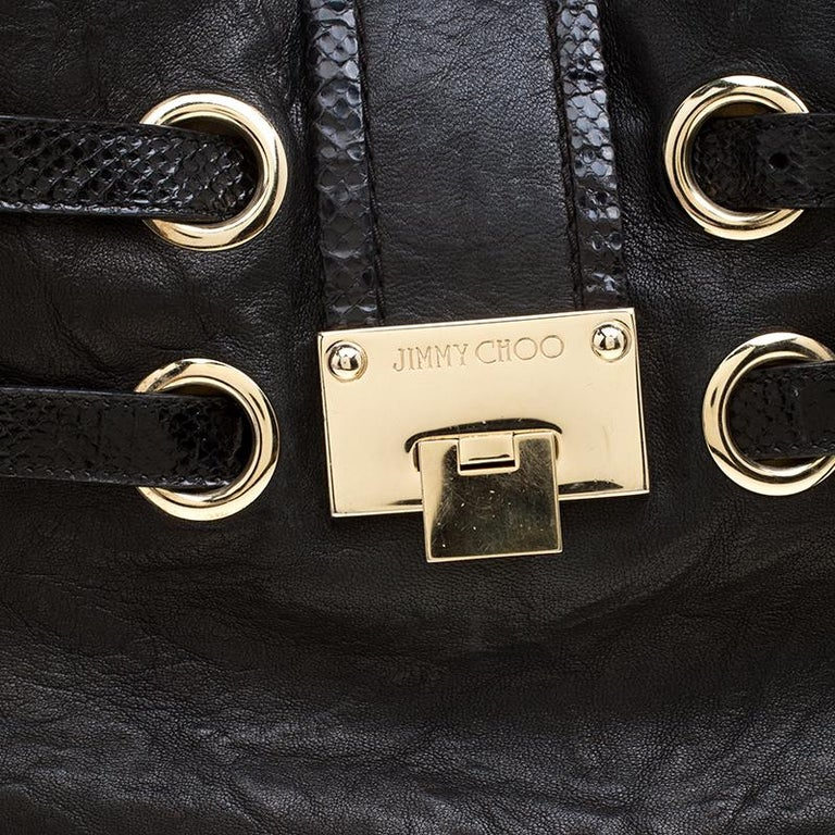 Jimmy Choo Black Glazed Crinkled Leather Riki Tote For Sale 1