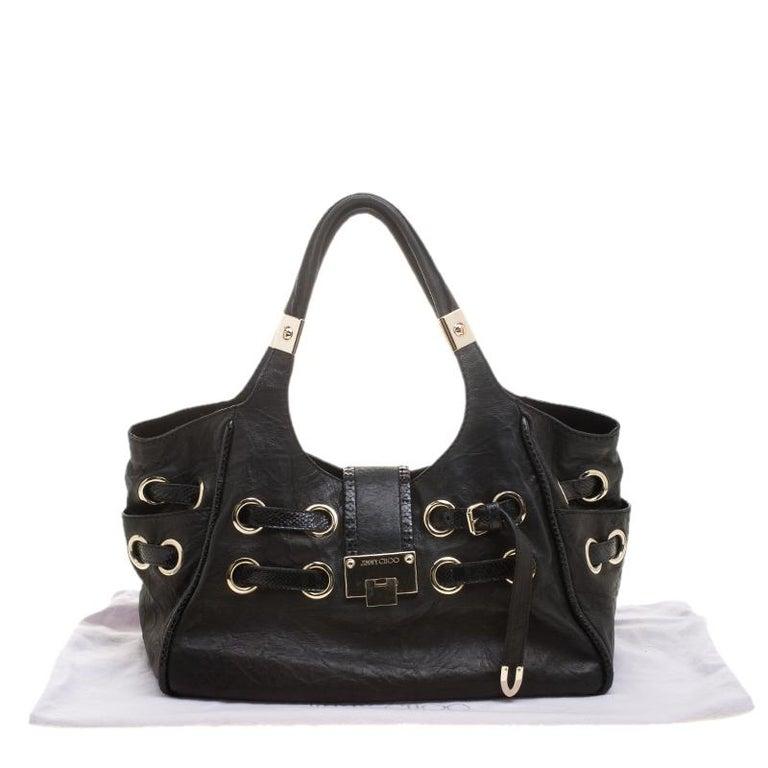 Jimmy Choo Black Glazed Crinkled Leather Riki Tote For Sale 2
