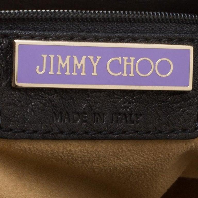 Jimmy Choo Black Glazed Crinkled Leather Riki Tote For Sale 4