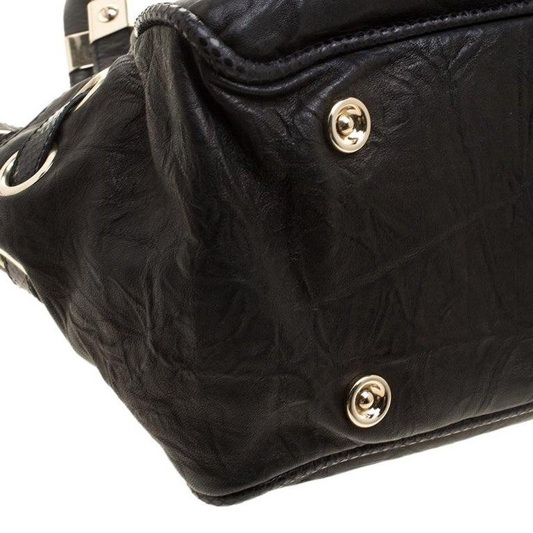 Jimmy Choo Black Glazed Crinkled Leather Riki Tote For Sale 6