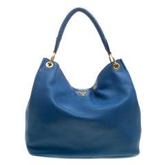 Prada Blue Vitello Daino Leather Hobo