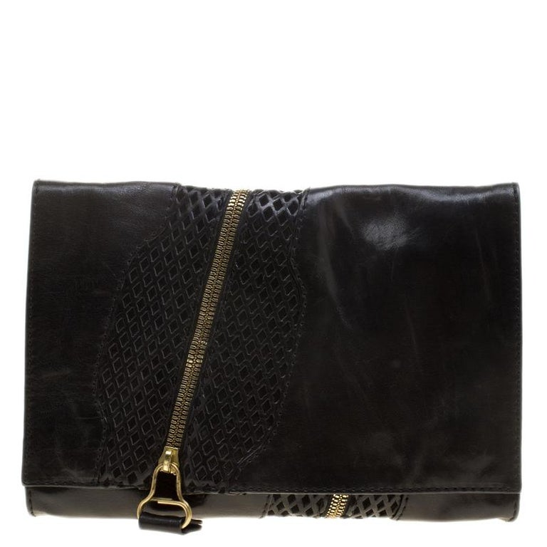 7013ff678abe Jimmy Choo Black Perforated Leather Martha Clutch For Sale at 1stdibs