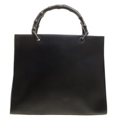 Gucci Black Leather Vintage Bamboo Tote