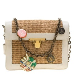 Lanvin Camel/Off White Woven Straw and Leather Charm Shoulder Bag