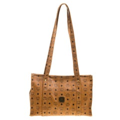 MCM Cognac Visetos Coated Canvas Large Heritage Top Zip Shopper Tote