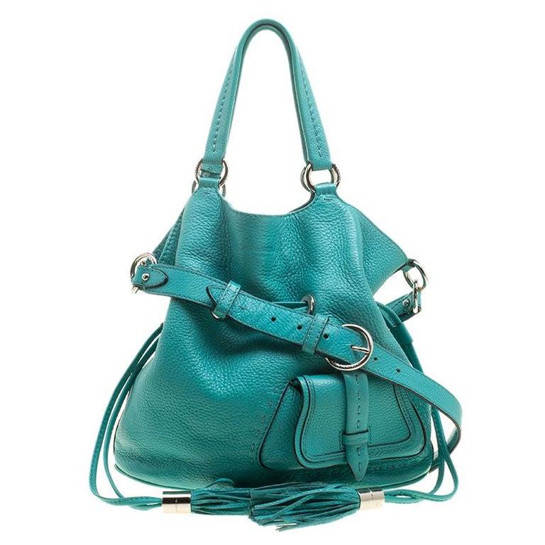 Lancel Green Leather Premiere Flirt Bucket Shoulder Bag For