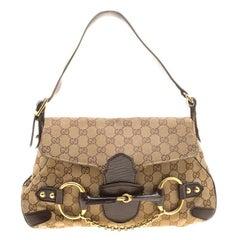 Gucci Beige GG Canvas Horsebit Shoulder bag