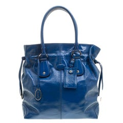 Tod's Blue Patent Leather Tote