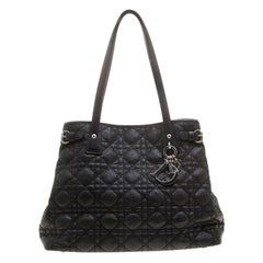 Dior Black Coated Canvas Small Panarea Tote