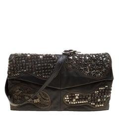 Valentino Black Leather Embellished Flat Shoulder Bag