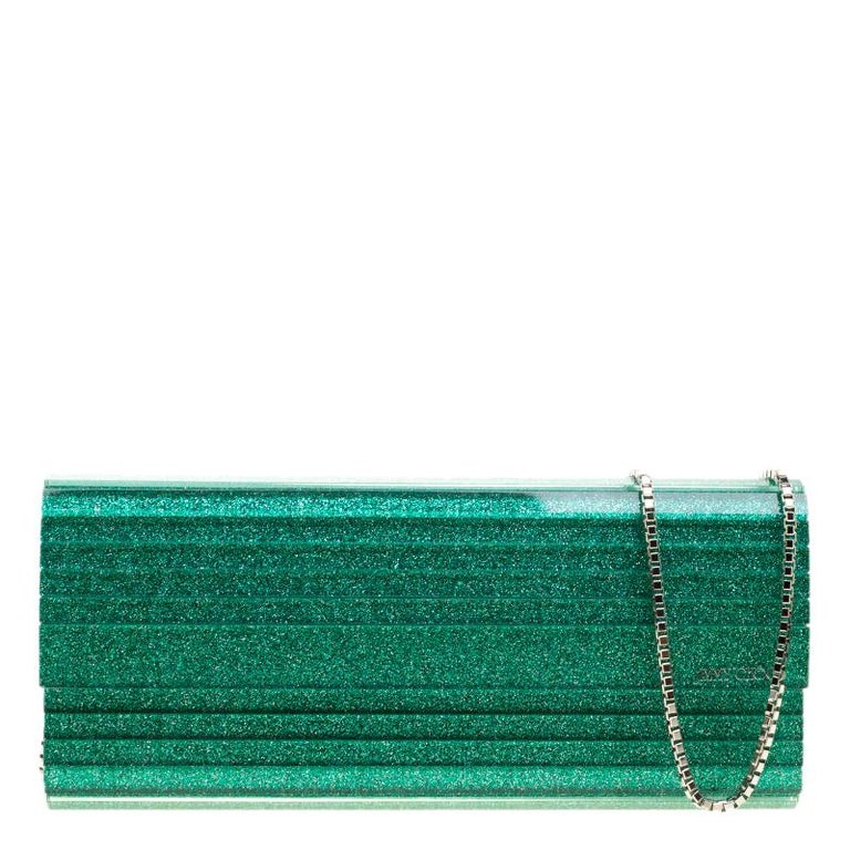 f3ebe8cbd0 Jimmy Choo Green Glitter Acrylic Sweetie Clutch at 1stdibs