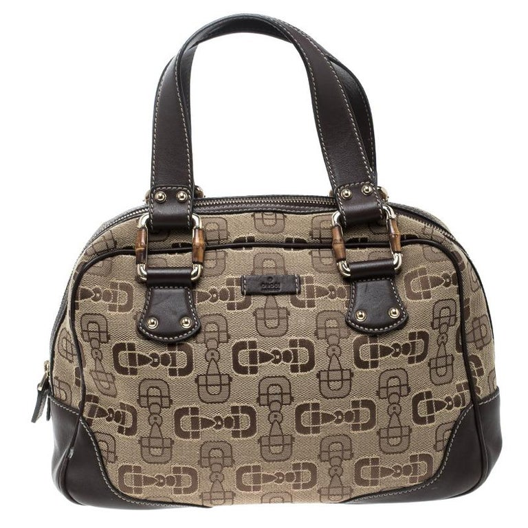 c9edf7008b0 Gucci Beige Brown Horsebit Canvas and Leather Boston Bag at 1stdibs