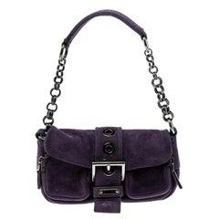 Prada Purple Suede Chain Shoulder Bag