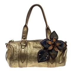 Miu Miu Gold Leather Shoulder Bag