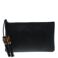 Gucci Black Leather Bamboo Tassel Clutch