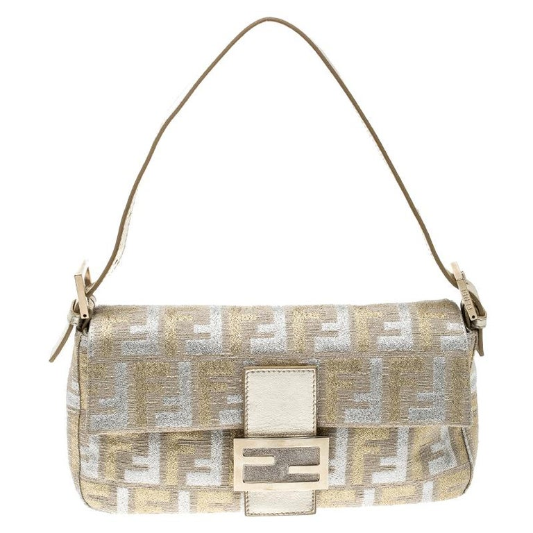 2c631abe9ce5 Fendi Metallic Beige Zucca Canvas and Leather Baguette Shoulder Bag For Sale