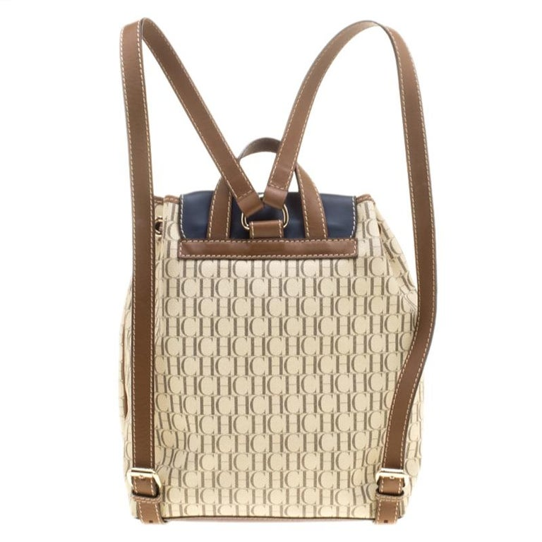 Carolina Herrera Beige Multicolor Monogram Coated Canvas Drawstring Backpack At 1stdibs