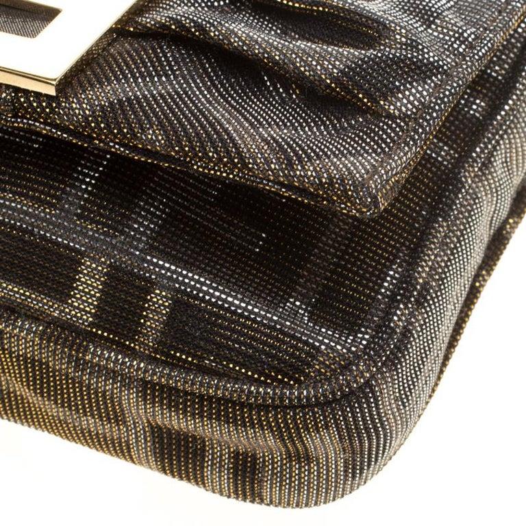 Fendi Metallic Zucca Glitters Baguette Chain Clutch 2