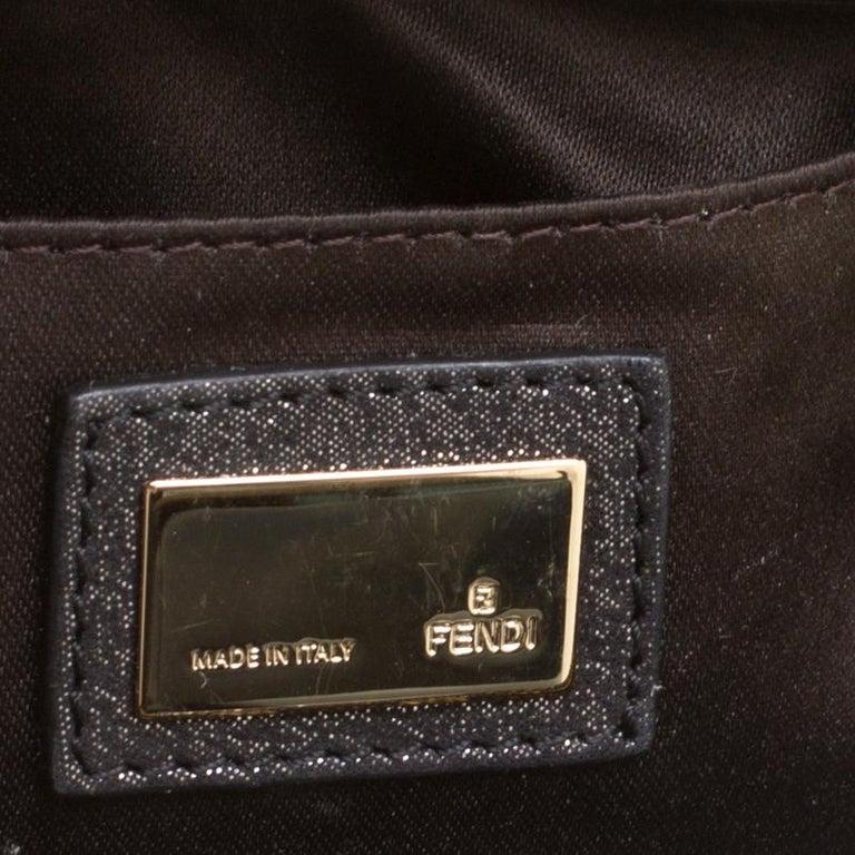 Fendi Metallic Zucca Glitters Baguette Chain Clutch 5